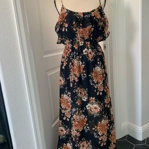 Black with pinks etc Floral flowing dress NWOT